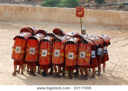 Jordanian men dressed as Roman soldiesr