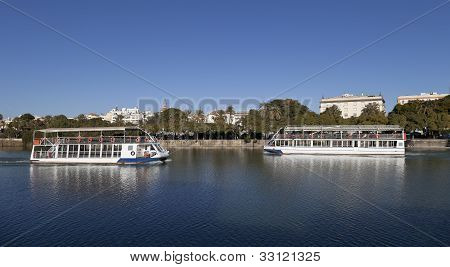 Boats in Guadalquivir river