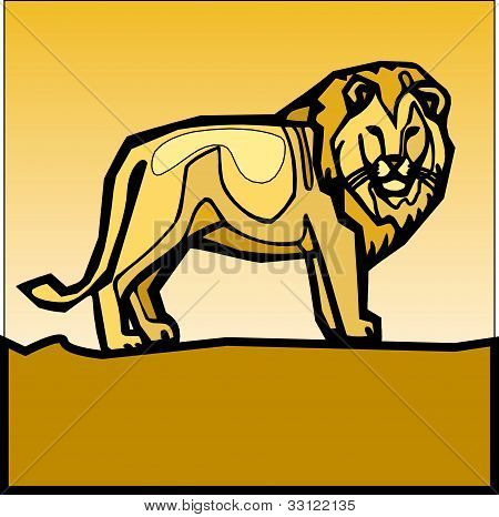 royal lion on the yellow background