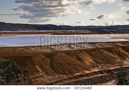 Dam copper mine waste