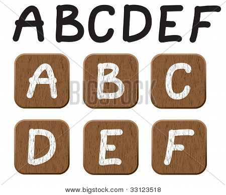 Hand drawn  wooden set of letters 1.