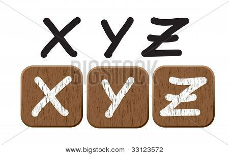 Hand drawn  wooden set of letters 5.