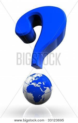 Questionmark And Globe Blue Symbol