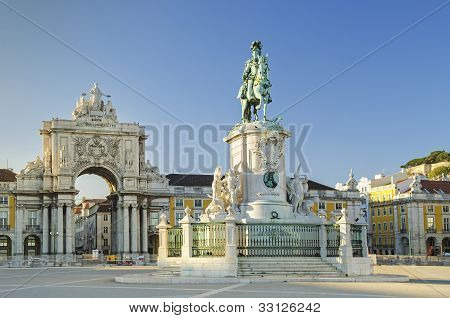 praca do comercio square in  lisbon portugal
