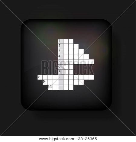 Vector Crossword Icon On Black. Eps10