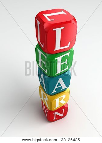 Learn 3D Colorful Buzzword Tower