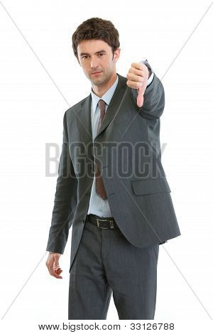 Modern Businessman Showing Thumbs Down