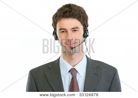 Modern Business Operator With Headset