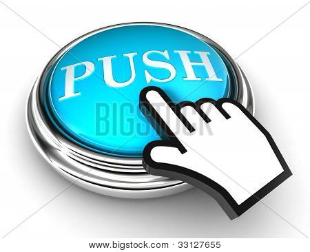 Push Blue Button And Pointer Hand
