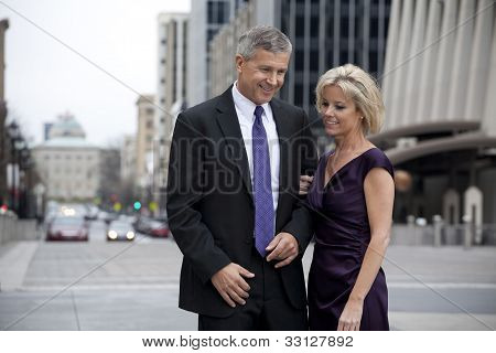 Man and a Woman on a City Street