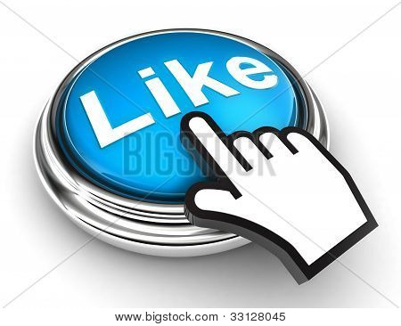 Like Blue Button And Pointer Hand