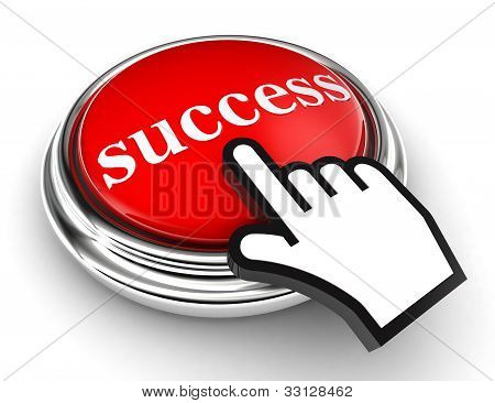Success Red Button And Pointer Hand