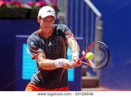 BARCELONA - APRIL, 24: British tennis player Andy Murray in action during his match against Sergiy Stakhovsky  of Barcelona tennis tournament Conde de Godo on April 24, 2012 in Barcelona