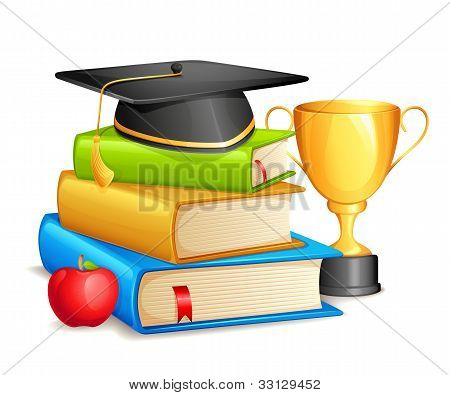 Book with Mortar Board and Trophy