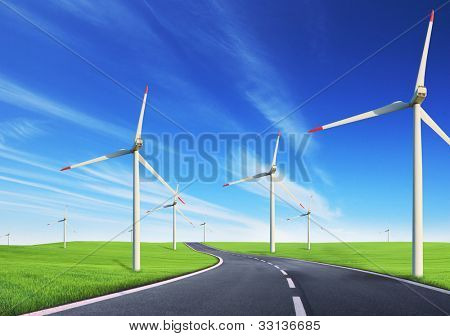Windmills field with road