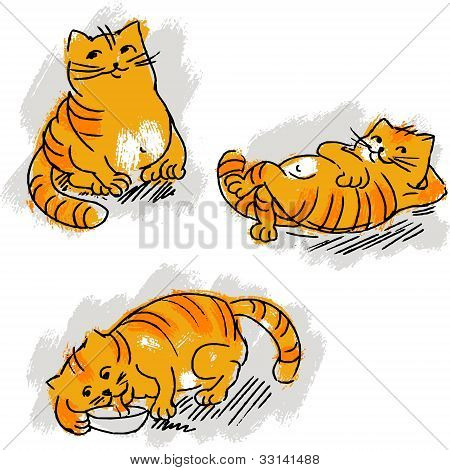 Collection of cute red cat vector set.