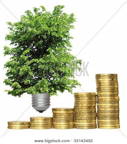 Concepto, simbolizando la eficacia de las tecnologías ambientales