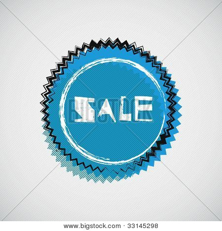 Grunge cyan badge. Sale.