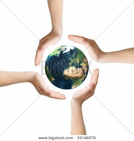 Four hands around Earth