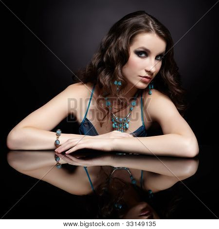 Brunette Woman And Mirror
