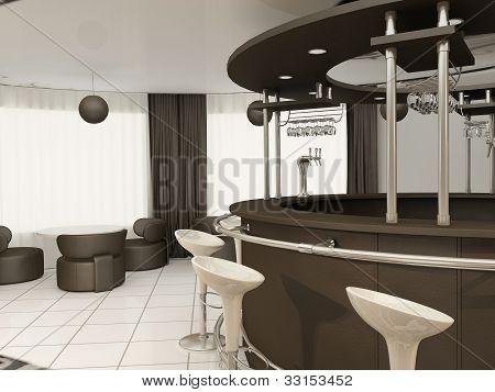Round Bar With Chairs In Modern Restaurant Interior