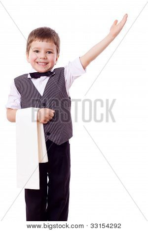 Little waiter with towel and pointing hand