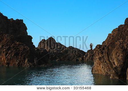 Blue lagoon and cliffs