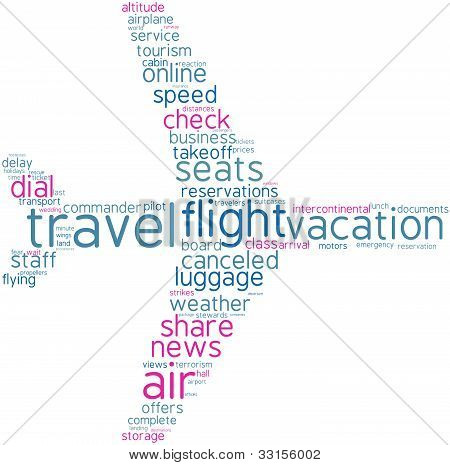 Airplane tag cloud shape