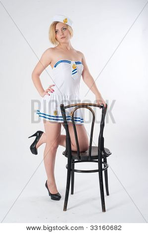 Young beautiful sailor woman