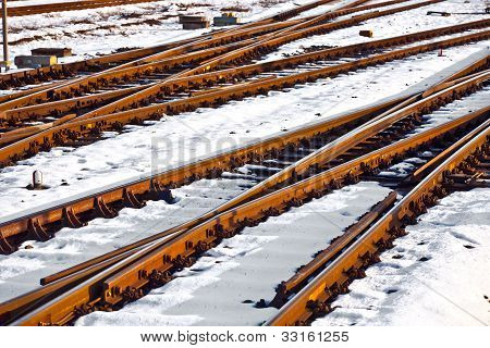 Rails In Winter At The Station