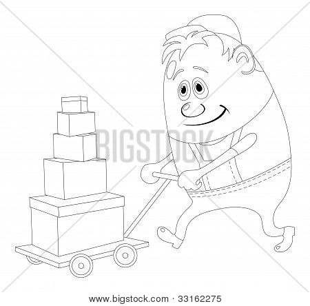 Worker with hand cart, contour