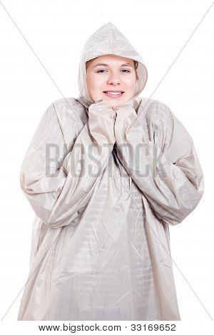Happy Woman In Raincoat
