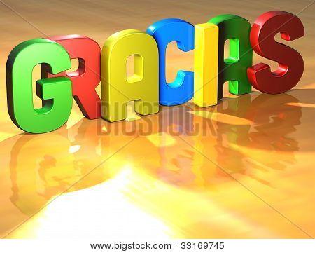 Word Gracias On Yellow Background