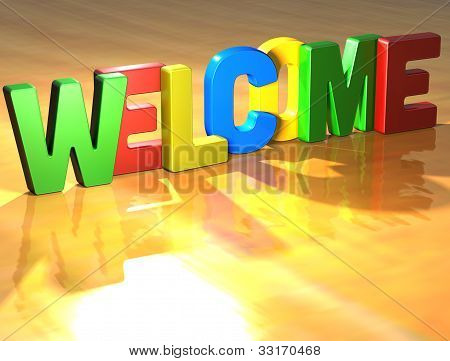 Word Welcome On Yellow Background