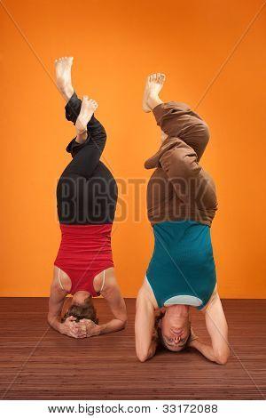 Women In Headstand Posture