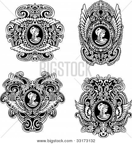 Set Of Decorative Antique Cameos