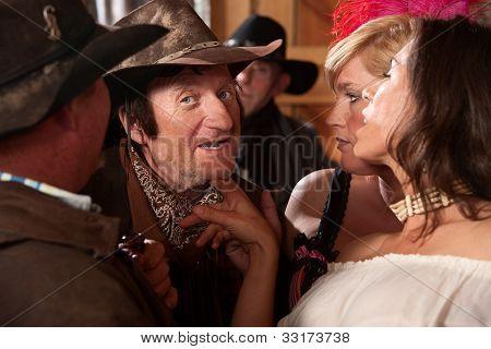 Women Flirt With Cowboy
