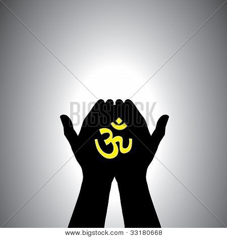 Person Praying With Sacred Hindu Symbol In Hand