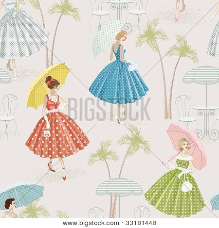 Background with women dressed in polka dots garments walking with parasols