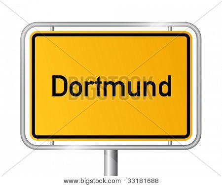 City limit sign DORTMUND against white background - North Rhine Westphalia, Nordrhein Westfalen, Germany