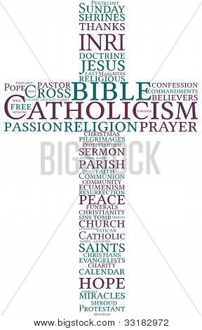 Catholic cross word cloud illustration