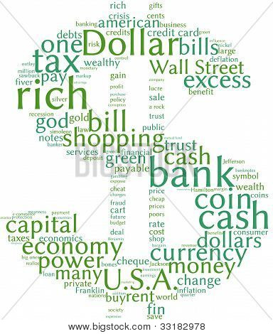 Dollar symbol  tag cloud