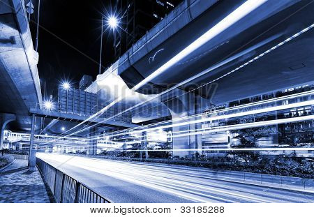 urban city with car light