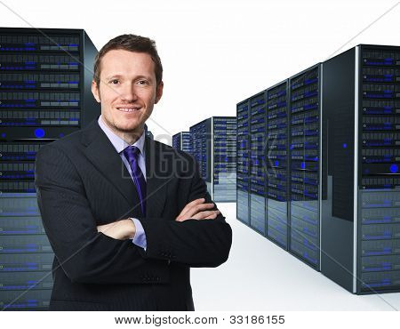 confident man crossed arms and server 3d