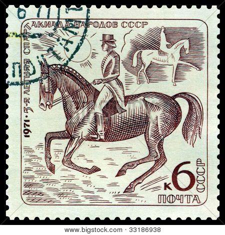 Vintage  Postage Stamp. Dressage.
