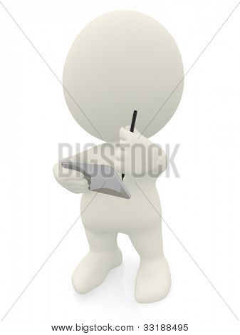 3D man writing on a tablet computer - isolated over a white background