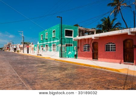 Colorful Street In Town Of Progreso, Mexico
