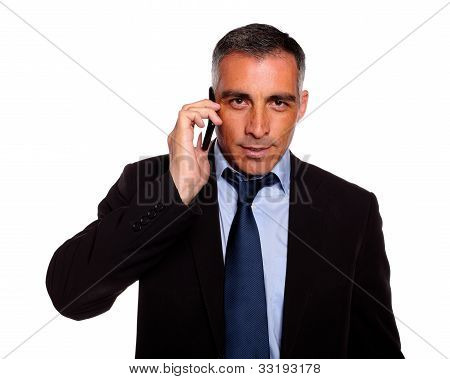 Hispanic Professional Businessman Conversing