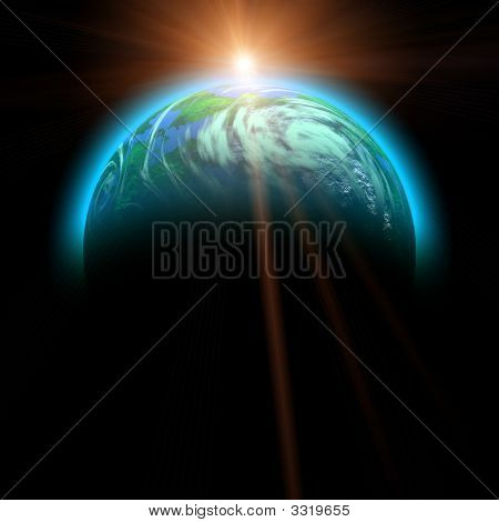 Rising Sun And Planet Illustration