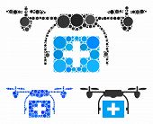Ambulance Drone Mosaic Of Small Circles In Variable Sizes And Color Hues, Based On Ambulance Drone I poster